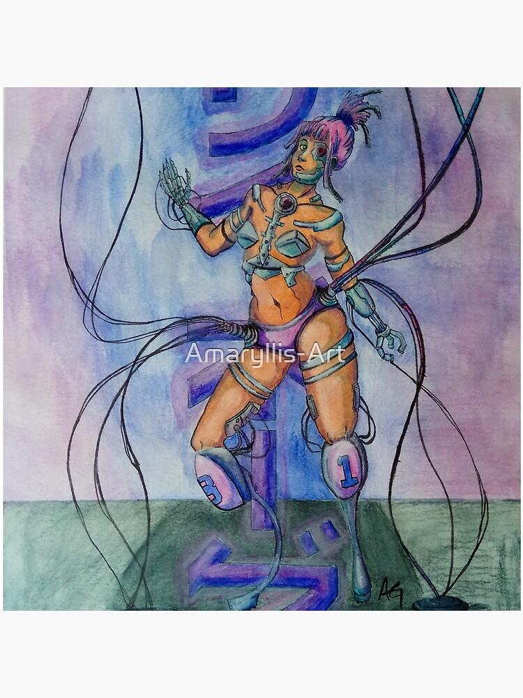 Saibo-gu - Cyberpunk Watercolor Painting of a Cyborg by Amaryllis-Art