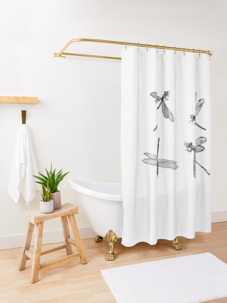 Alternate view of Dragonfly Flurry Shower Curtain
