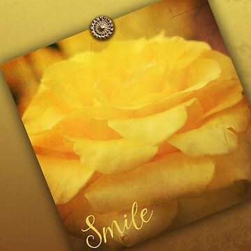 English Rose Yellow Vintage Texture Ornamental Pattern by beverlyclaire