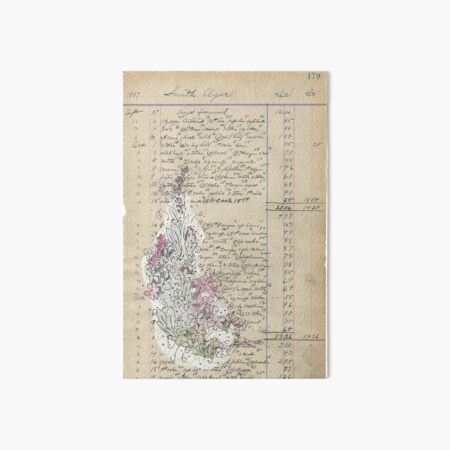 Vintage Paper Handwritten Floral Sketch Embellishment Art Flowers Art Board Print
