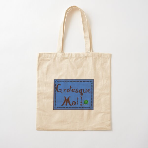 Grotesque Moi! Blue Banner Cotton Tote Bag