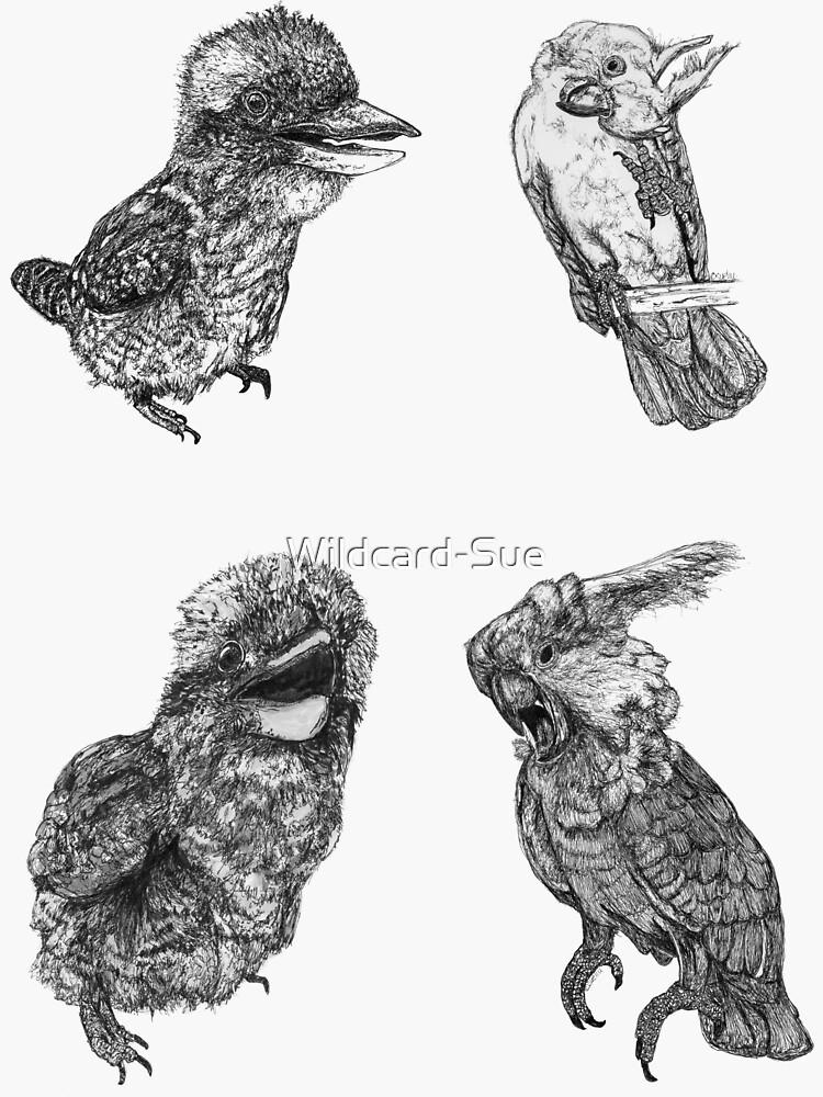 Sky 1 - Kookaburras and Cockatoos - 4 stickers by Wildcard-Sue