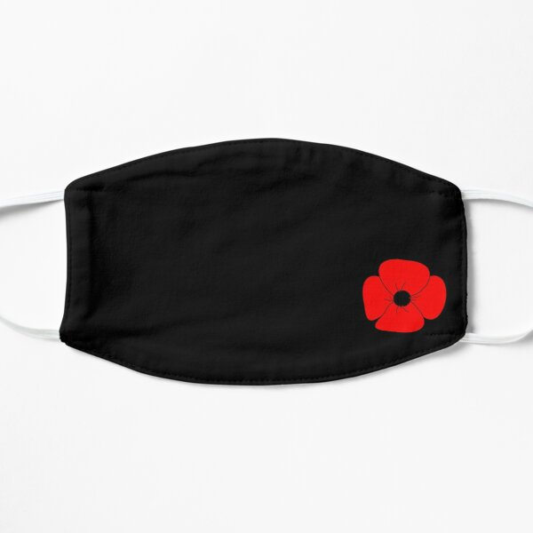 Minimalist Remembrance Day red poppy Flat Mask