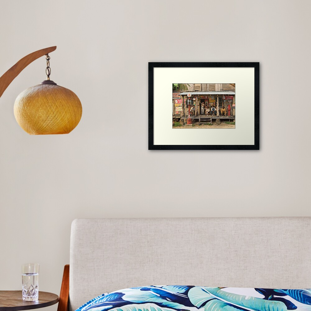 Country store on dirt road, 1939 Framed Art Print