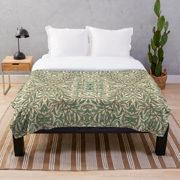 William Morris Willow Bough wood Watercolor pattern Throw Blanket