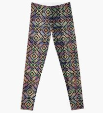 Multicolored Ethnic Check Seamless Pattern Leggings