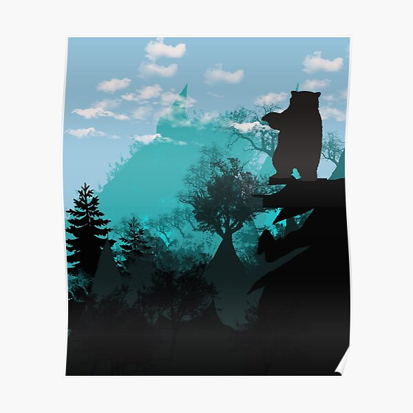 Evergreen nature mountains and pine Trees landscape Poster