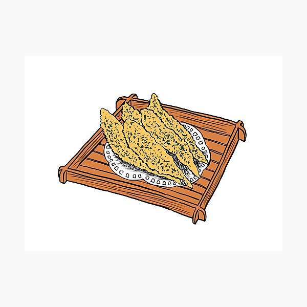 Illustration of a Japanese Snack - Fried Capelin Photographic Print