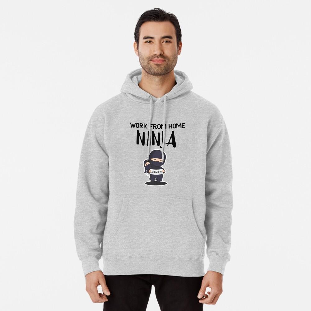 Work from Home Ninja Black Pullover Hoodie