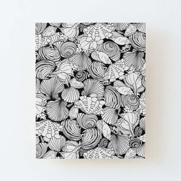 Vector black and white repeat pattern with variety of overlaping seashells.  Wood Mounted Print