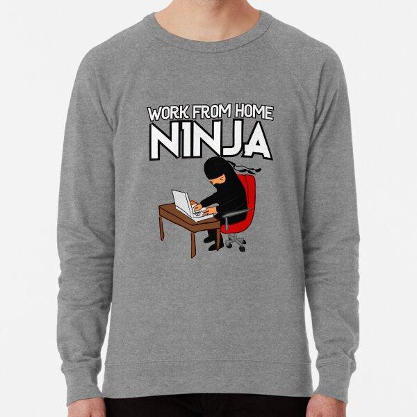Work from Home Ninja Black and White Lightweight Sweatshirt