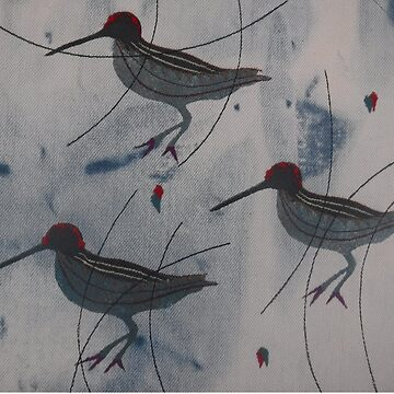 Three Abstract Woodcock - Print of Embroidered Textile by Jackie Wills by jackiewills