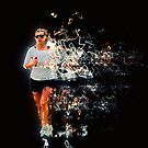 Woman runs in a park Digitally manipulated with blazing trail  by PhotoStock-Isra