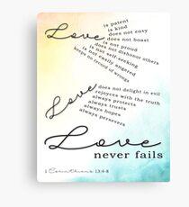 Love - 1 Corinthians 13:4-8 Canvas Print
