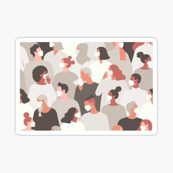 Coronavirus covid-19 people in medical face mask.  Sticker