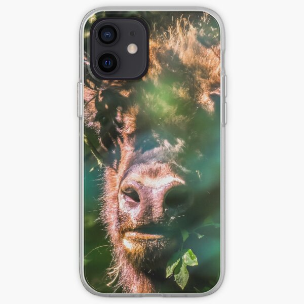 Portrait of European bison (wisent) hiding in the forest iPhone Soft Case