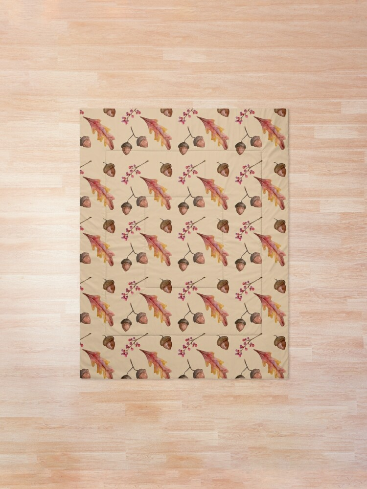 Alternate view of Watercolor Fall pattern with Oak Leaves and Acorns Comforter