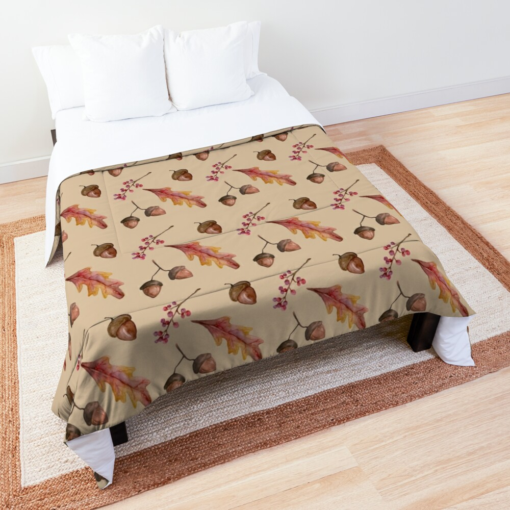 Watercolor Fall pattern with Oak Leaves and Acorns Comforter