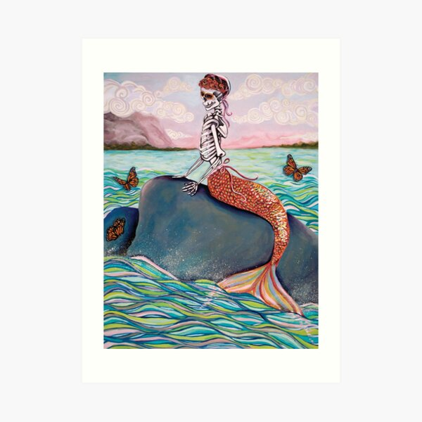Day of the Dead Mermaid Art Print