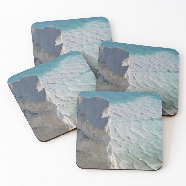 Chalk cliffs towering white ocean Coasters (Set of 4)
