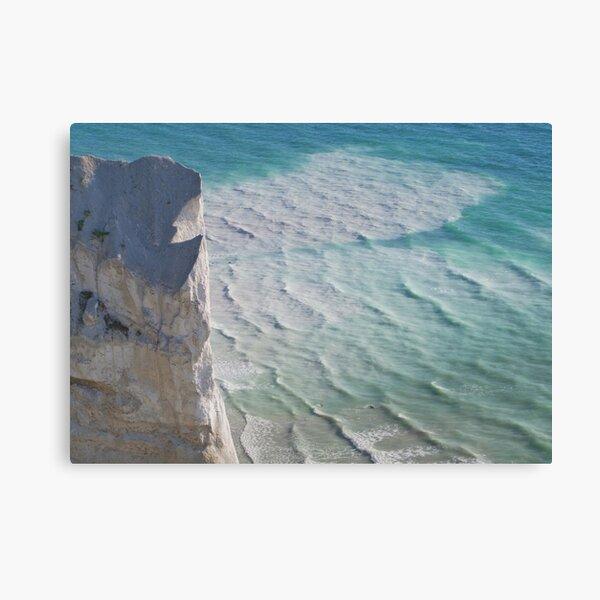 Chalk cliffs towering white ocean Canvas Print