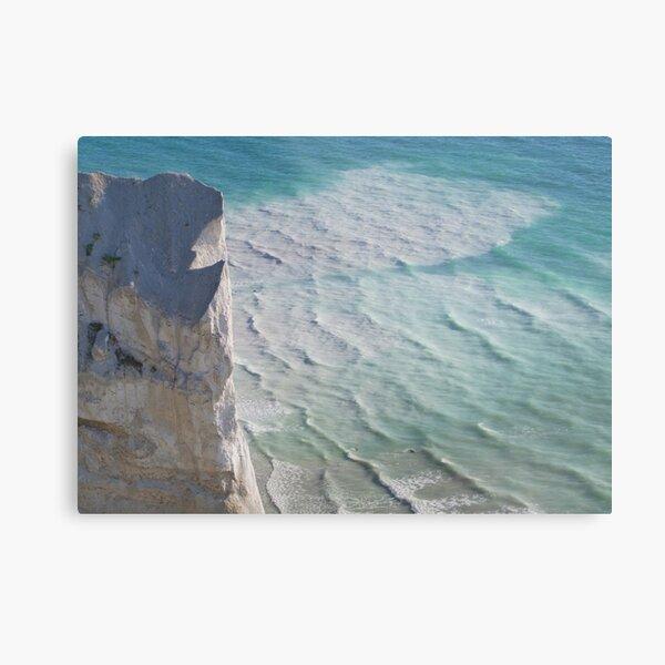 Chalk cliffs towering white ocean Metal Print
