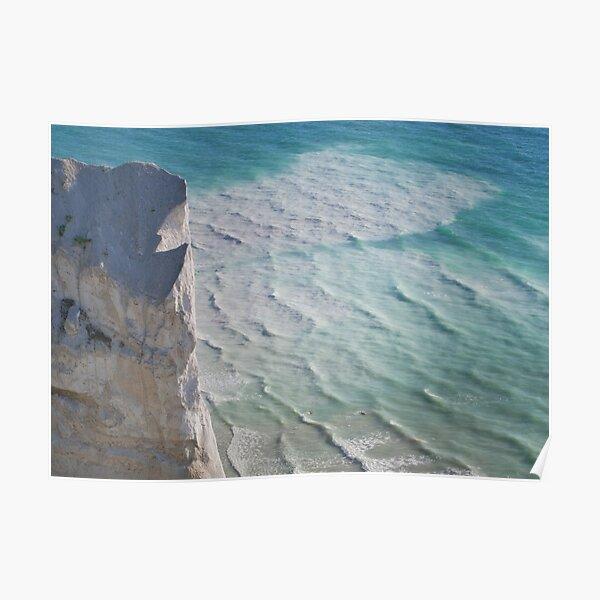 Chalk cliffs towering white ocean Poster