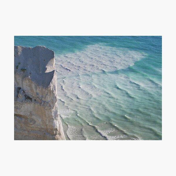 Chalk cliffs towering white ocean Photographic Print