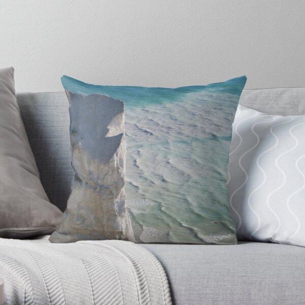 Chalk cliffs towering white ocean Throw Pillow