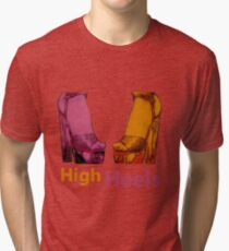 high heels purple and yellow Tri-blend T-Shirt