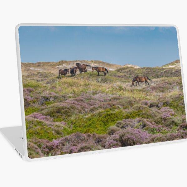 Wild horses on beautiful heathland Laptop Skin