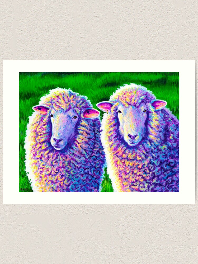 Alternate view of Colorful Sheep Portrait - Charlie and Curtis Art Print