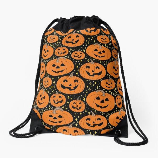 Happy jack-o-lantern pumpkins on a Halloween night pattern Drawstring Bag