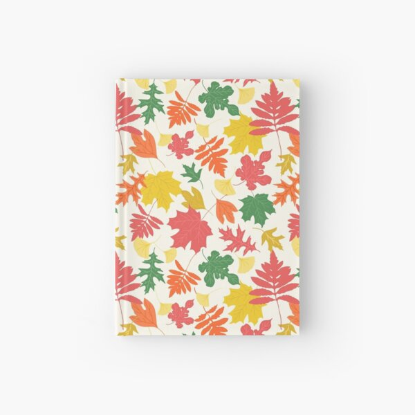 Chalky bright colorful autumn leaves sophisticated pattern Hardcover Journal