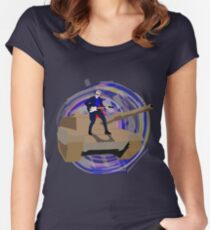 Doctor Who Riding a Tank and Playing Guitar Women's Fitted Scoop T-Shirt