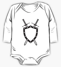Shield & Swords Tattoo Design - Black One Piece - Long Sleeve