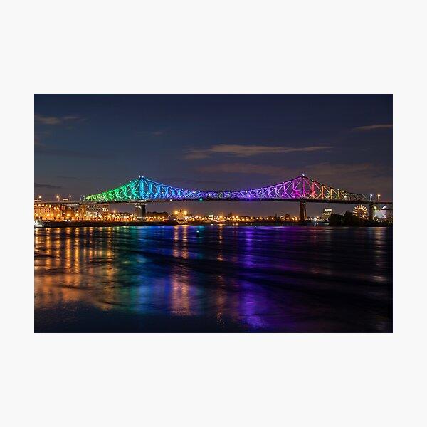 Montreal Jacques Cartier Bridge Lit Up Photographic Print