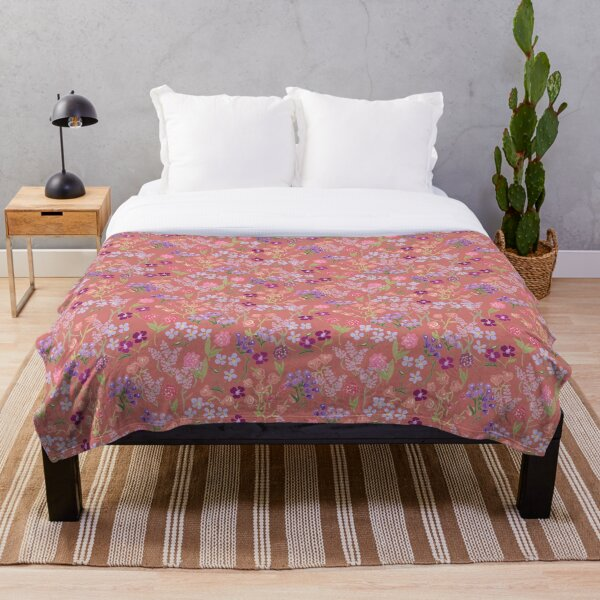 Imaginary Garden in Rose by Tea with Xanthe Throw Blanket