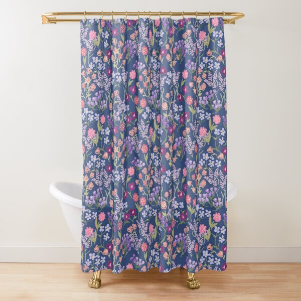 Imaginary Garden in Blue by Tea with Xanthe Shower Curtain