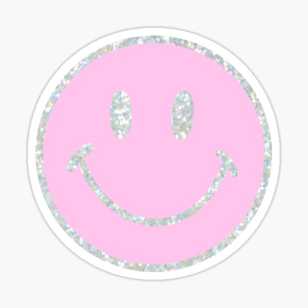 Pink Sparkly Smiley Face Sticker