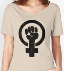 Feministische Raised Fist - Distressed Loose Fit T-Shirt