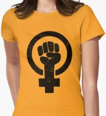 Feminist Raised Fist - Distressed Women's Fitted T-Shirt