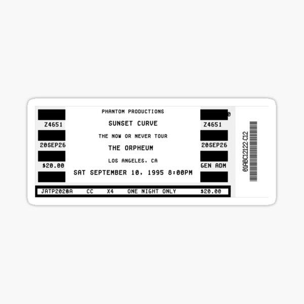 sunset curve. concert ticket. Sticker