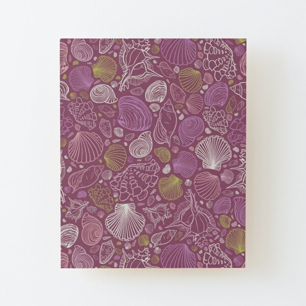 Vector purple repeat pattern with variety of seashell outlines Wood Mounted Print