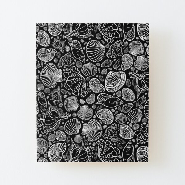 Vector black and white repeat pattern with variety of seashells. Wood Mounted Print