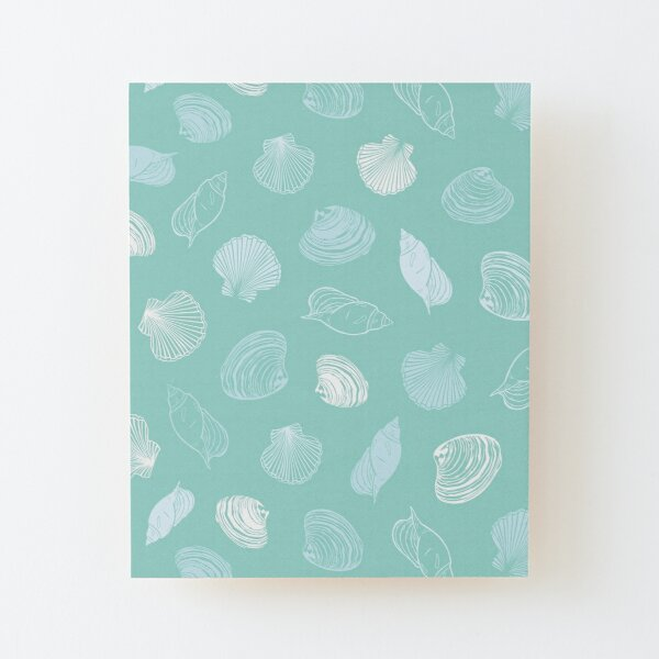 Vector pastel light blue seashells paradise repeat pattern.  Wood Mounted Print