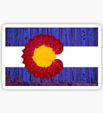 aspen tree Colorado flag Sticker