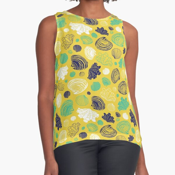 Vector yellow repeat pattern with variety of clam seashells.  Sleeveless Top
