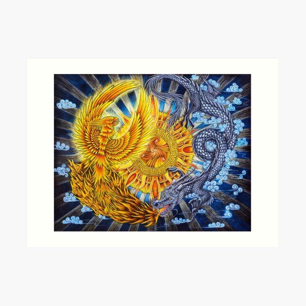 Chinese Phoenix and Dragon Mandala Art Print