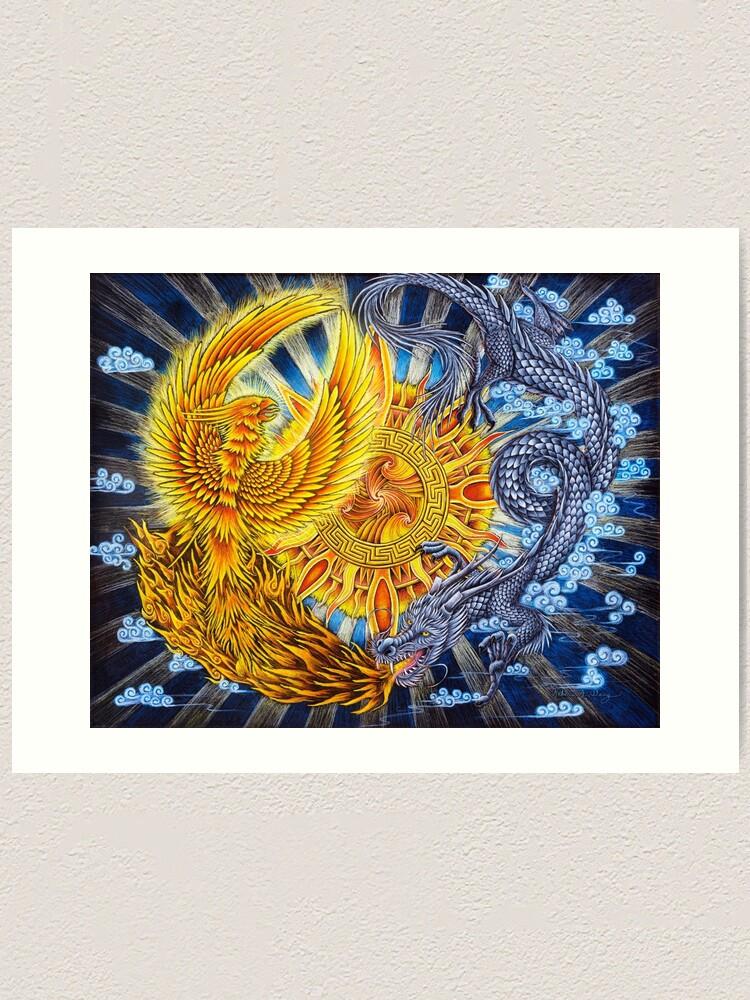 Alternate view of Chinese Phoenix and Dragon Mandala Art Print